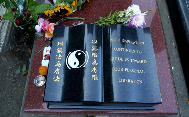Bruce Lee's grave in  Seattle at the Lake View Cemetery.