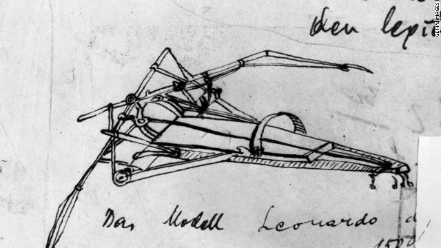 pen-and-ink sketch of a flying machine designed by da Vinci.