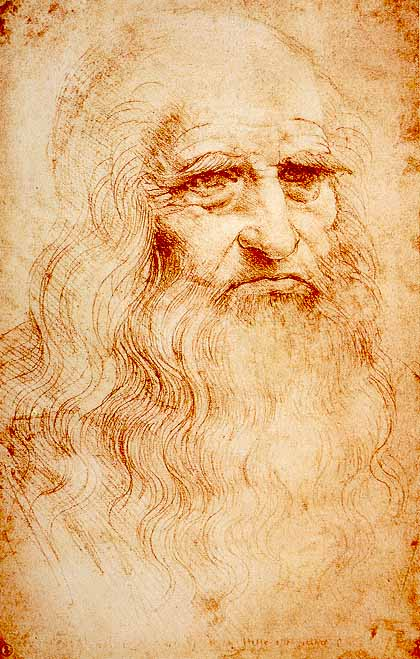 A self-portrait of Leonardo da Vinci done in red chalk. Credit: Leonardo da Vinci, ca. 1510-1515
