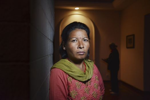 """Indra, now 31, from Nepal, abused in Kuwait. """"Everyone has left me. My brothers spit on the ground when they see me….I will try my best to prevent anyone from ever going abroad for domestic work. I can work to stop it. I will do whatever it takes."""""""