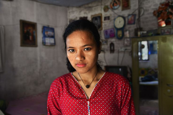"Saraswati, now 20, from rural Nepal, abused in Nepal. ""She took me to my room and started beating me with her hand. Pulling my hair. With no one at home to stop her, she would beat me a long time….The Government should not allow children to be used as domestic workers."""